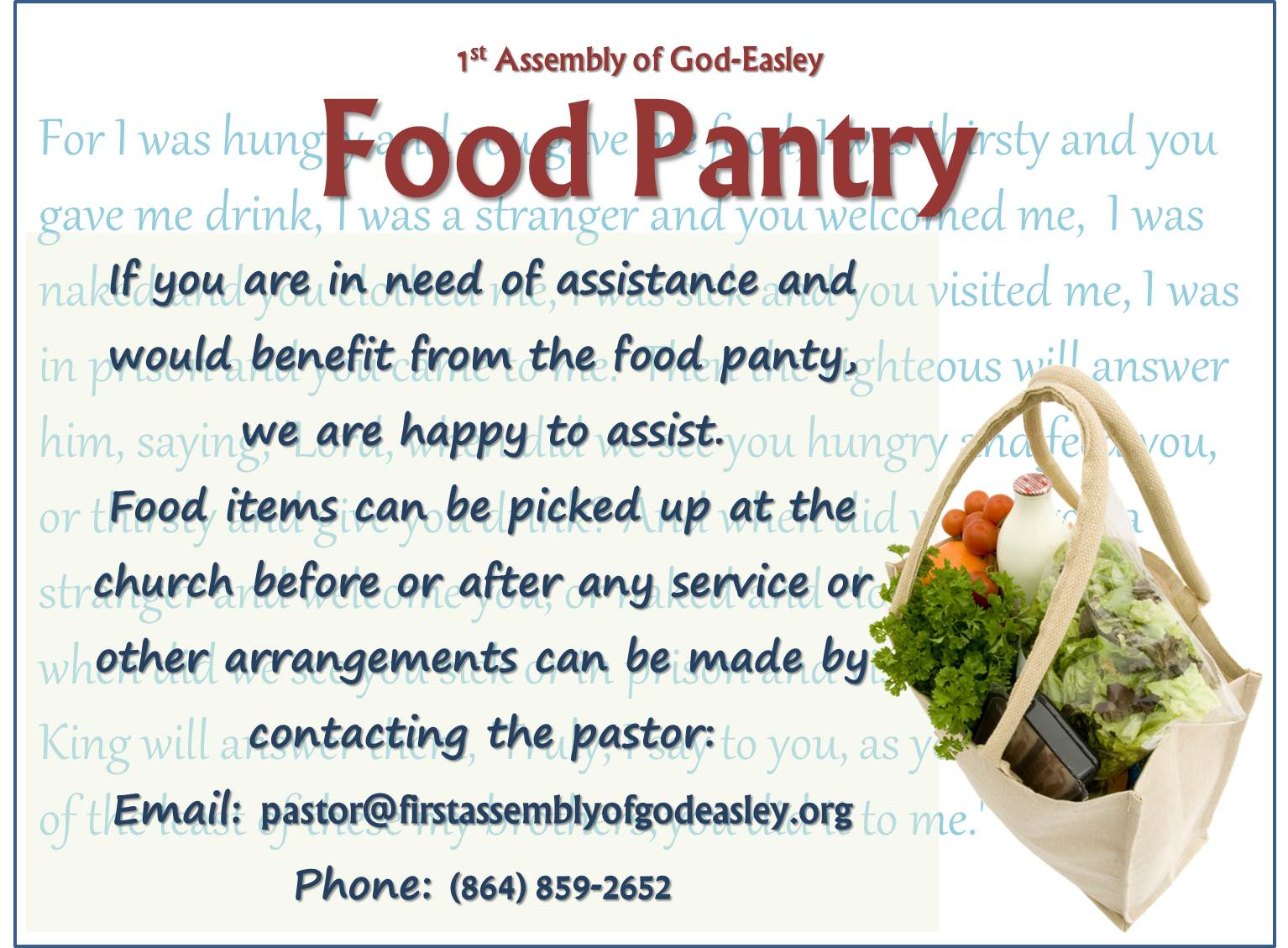 New Life Assembly Of God Food Pantry